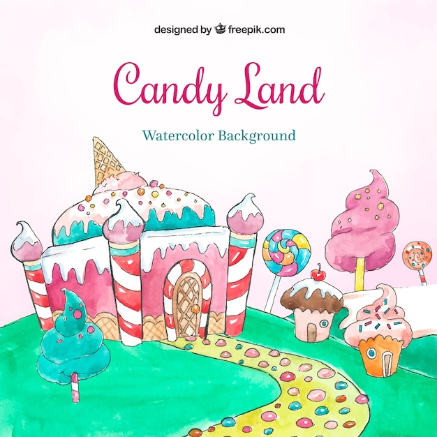 Candy land background in watercolor style Free Vector
