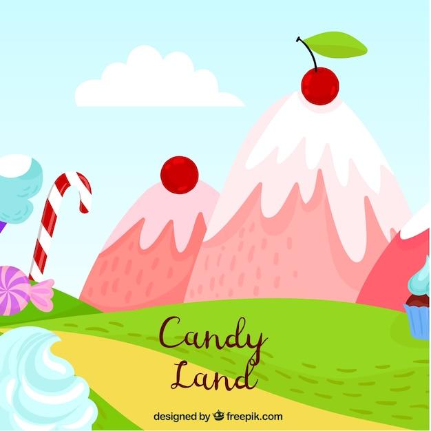 美味しい山々を持つキャンディーの土地の背景 無料ベクター