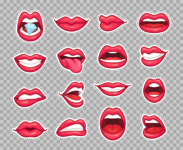 Candy lips patches. vintage fashion cartoon stickers with girl showing tongue smiling Premium Vector