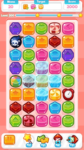 Candy match three game Premium Vector
