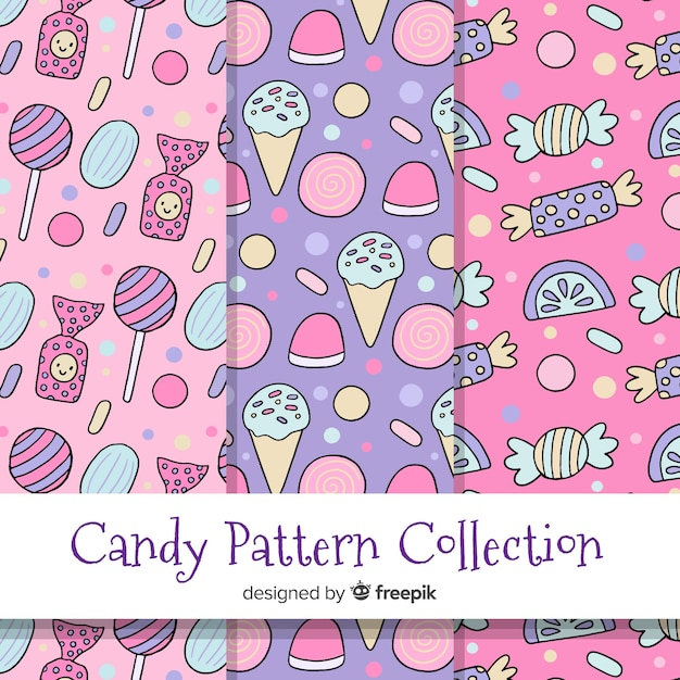 Candy pattern collection Free Vector