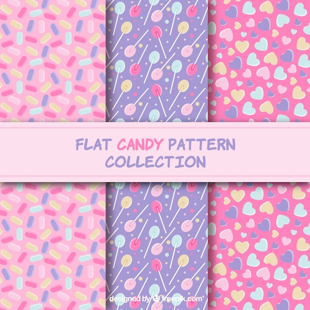 Candy patterns collection with different colors Free Vector