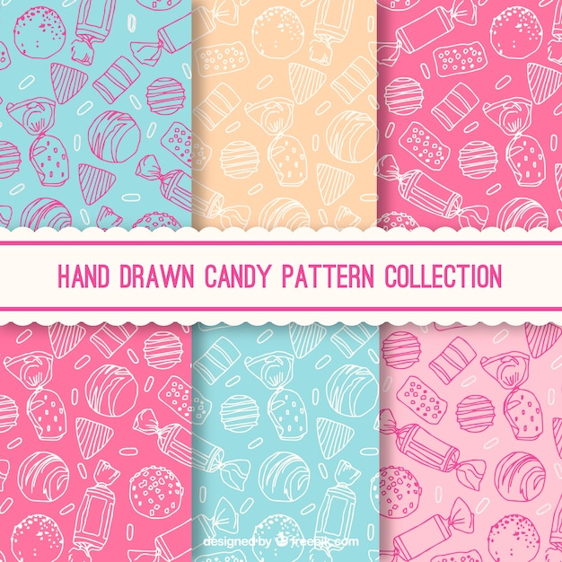 Candy patterns collection with different colors Premium Vector