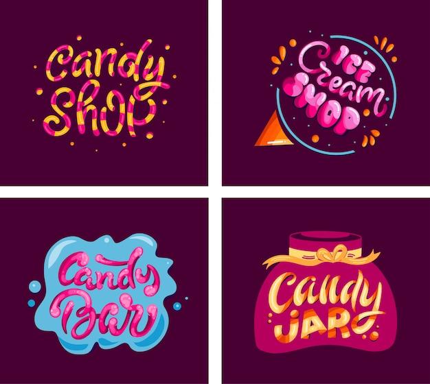 Candy set stamps, logos, lettering phrases, emblems, labels, slogans, badges. Premium Vector