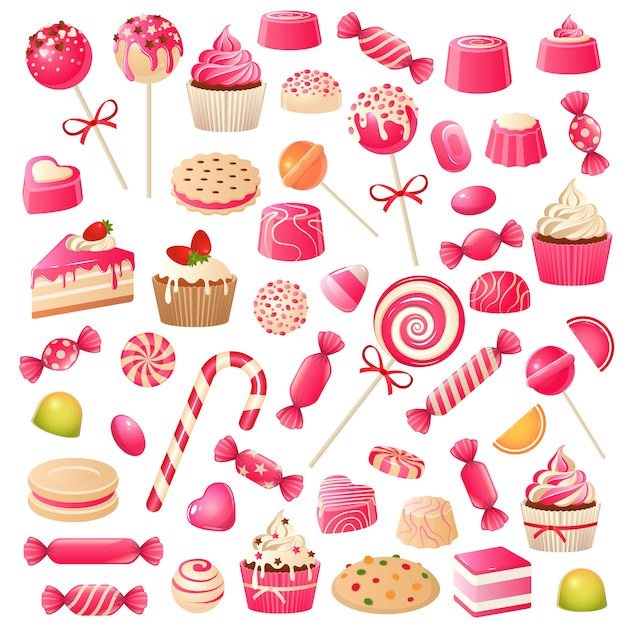 사탕 세트. 달콤한 디저트 초콜릿 사탕, 마시멜로 및 당의정 젤리. 초콜릿 쿠키 컵 케이크, 롤리팝 달콤한 음식 세트 프리미엄 벡터