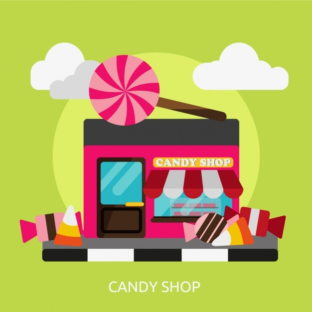 candy shop background design vector free download