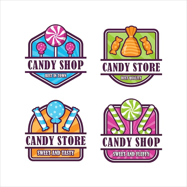 Candy shop badge Premium Vector