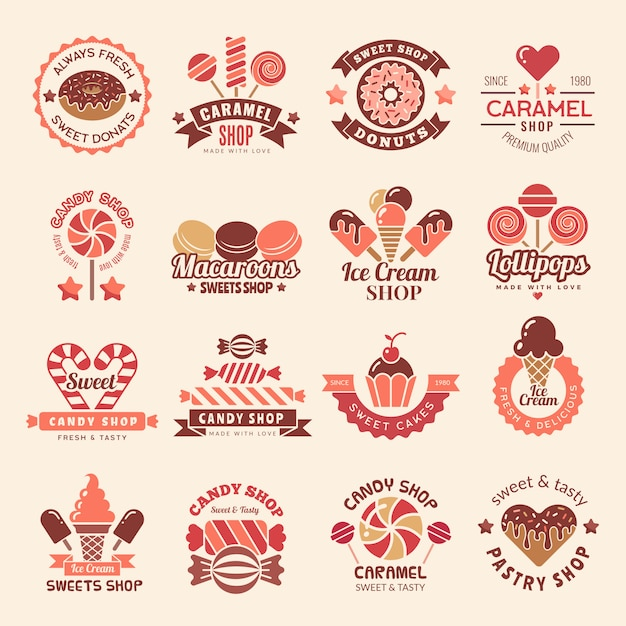 Candy shop badges. sweets cookie cupcakes lollipop symbol for confectionary logos collection Premium Vector