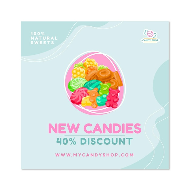 Candy shop flyer square Free Vector