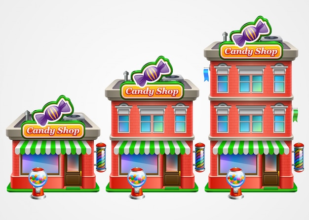 Candy shop infographic. Premium Vector