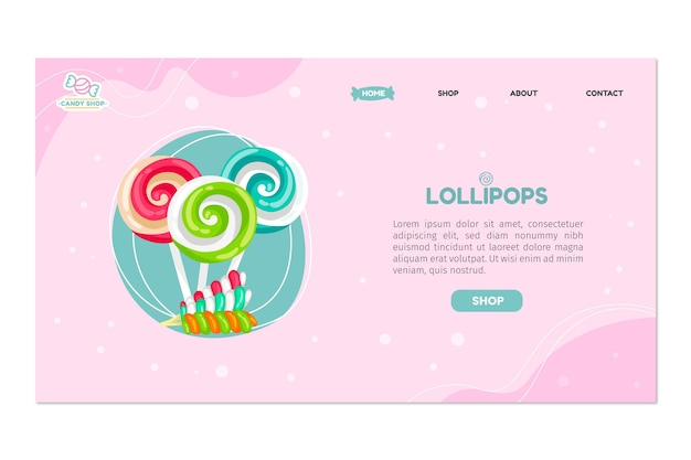 Candy shop landing page Premium Vector