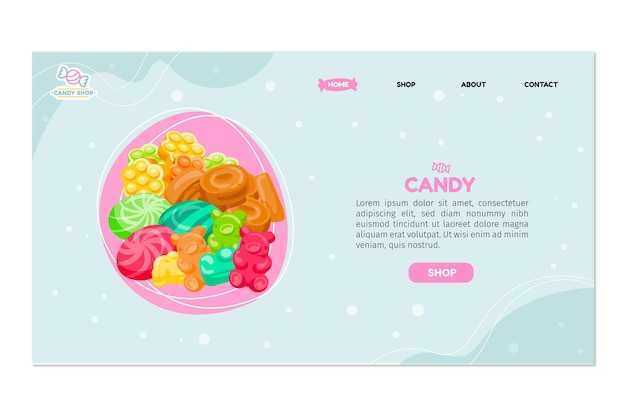 Candy shop landing page Premium Vector