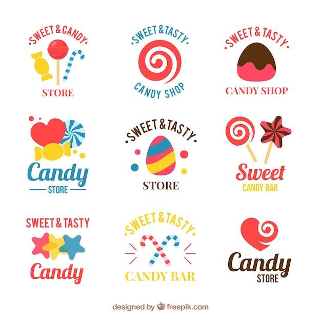 Candy shop logos collection for companies Free Vector