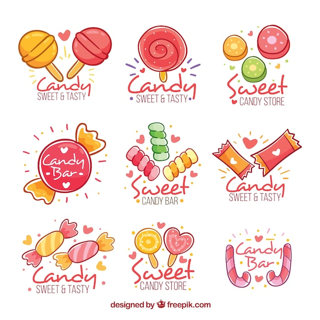 Candy shop logos collection for companies Free Vector