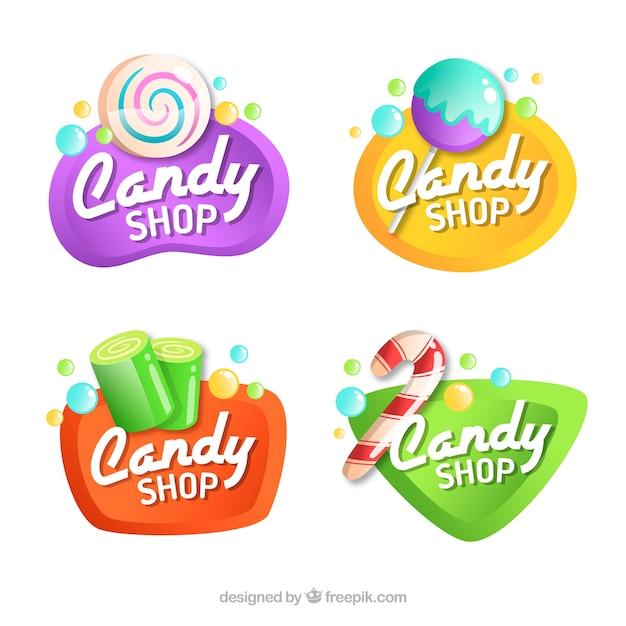 Candy shop logos collection for companies Premium Vector