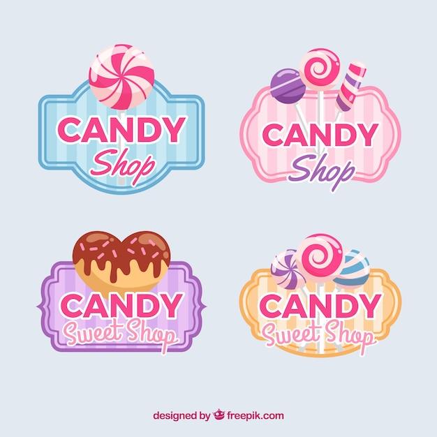 Коллекция логотипов для конфетных магазинов для компаний Premium векторы