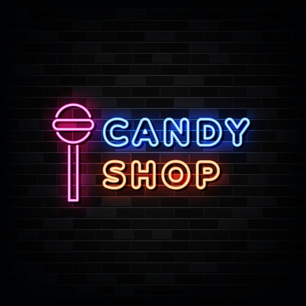 Candy shop neon signs Premium Vector