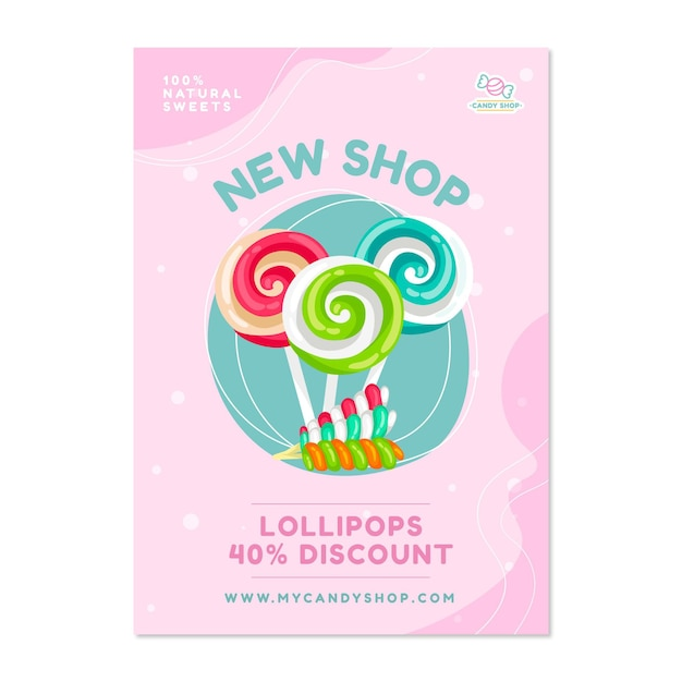 Candy shop poster with sweets Free Vector
