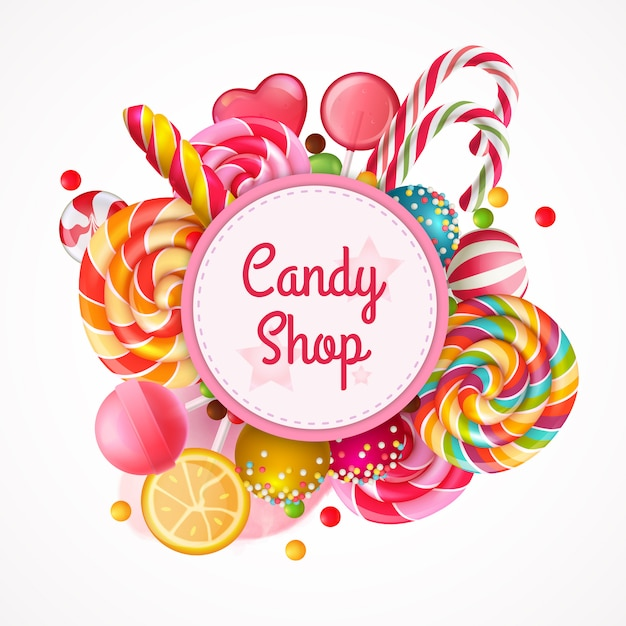 Candy shop round frame background Free Vector