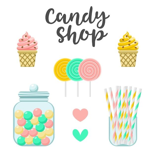 Конструктор сладостей кондитерской. красочные иллюстрации, милый стиль, изолированные на белом фоне Premium векторы