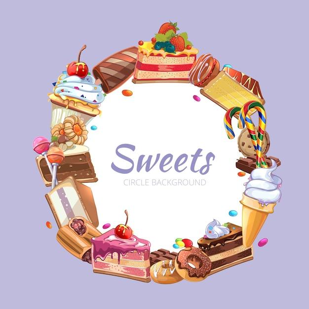 Manifesto di vettore del negozio di caramelle. pasticceria torta, spuntino dolce da forno, illustrazione di cioccolato crema Vettore gratuito