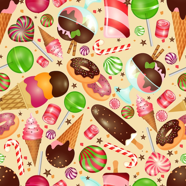 Candy and sweets seamless background for invitations to christmas and birthday Free Vector