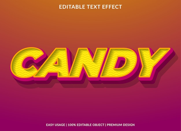 Candy text effect template premium style Premium Vector