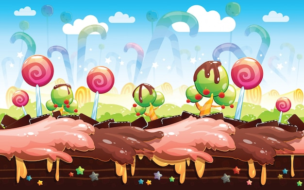 Candyland background Premium Vector
