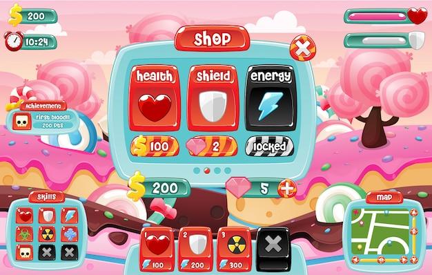 Candyland game ui Premium Vector