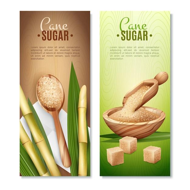 Cane sugar banners set Free Vector