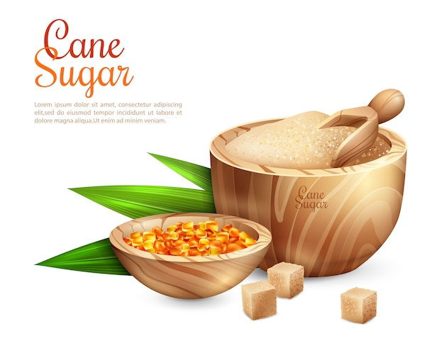 Cane sugar pail background Free Vector