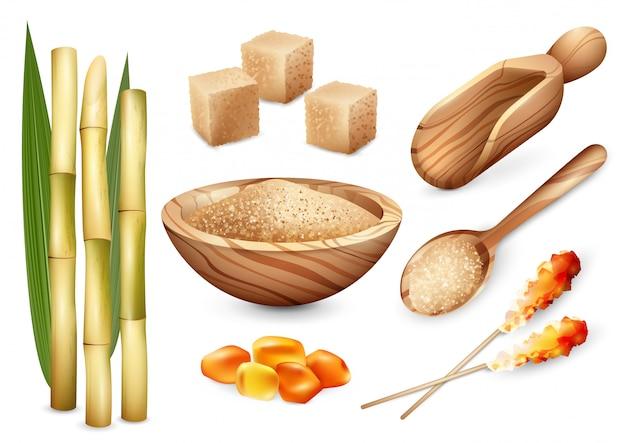 Cane sugar sweets set Free Vector