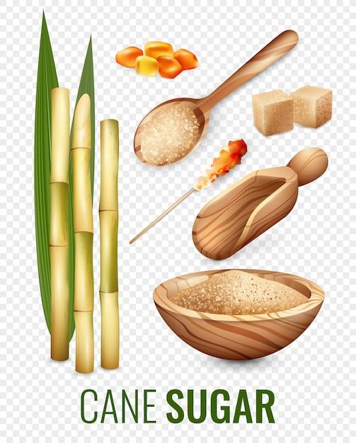 Cane sugar transparent set Free Vector