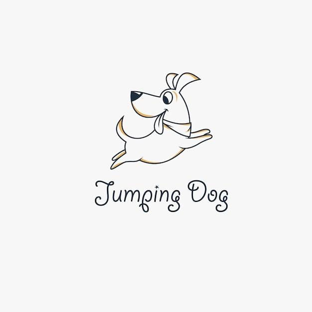 Canine jump logo design Premium Vector
