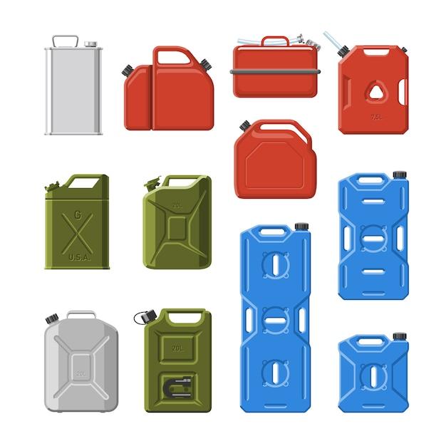 キャニスタージェリカンまたは白い背景で隔離のカニキンのガソリンまたはオイルのイラストセットと自動車およびプラスチックジェリカンの燃料ガソリンの缶 Premiumベクター