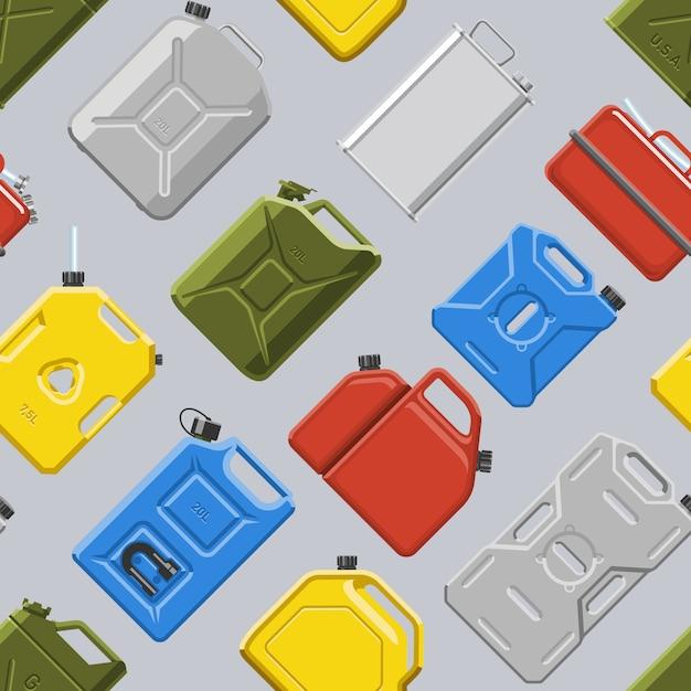 キャニスタージェリカンまたはcannikinシームレスパターンのガソリンまたはオイルのイラストセットと自動車およびプラスチックジェリカンの燃料ガソリンの缶 Premiumベクター