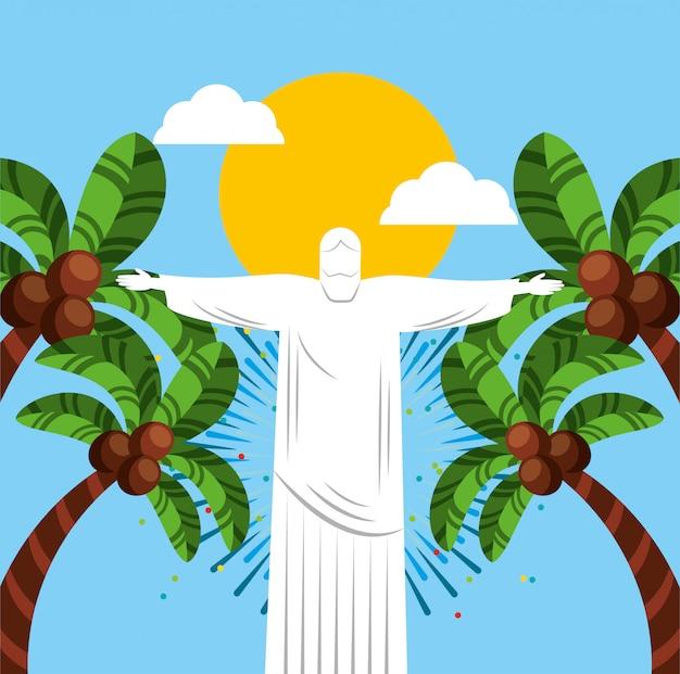 Канал бразильского праздника рио с иллюстрацией христа корковады Бесплатные векторы