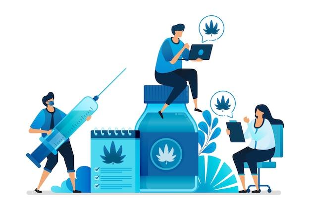 健康のための研究のための大麻とマリファナのイラスト。 Premiumベクター
