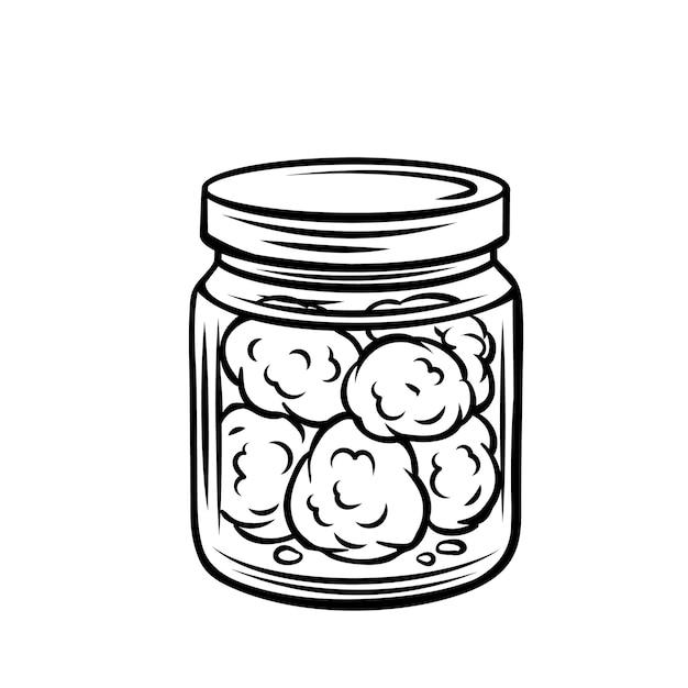 Бутоны конопли в стеклянной банке наброски значок. Premium векторы