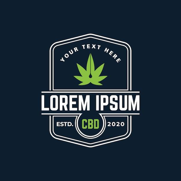 大麻cbdオイルのロゴのテンプレート Premiumベクター