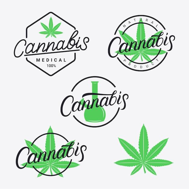 大麻手書きレタリングロゴ、ラベル、エンブレム、バッジセット。 Premiumベクター