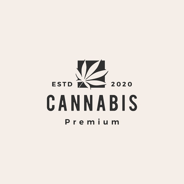 大麻ヒップスターヴィンテージロゴアイコンイラスト Premiumベクター