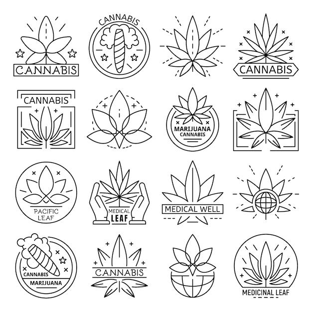 Cannabis icon set. outline set of cannabis vector icon Premium Vector