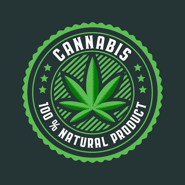 大麻葉丸バッジ Premiumベクター