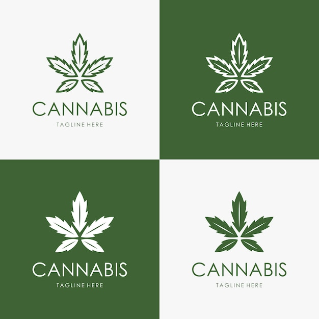 Cannabis logo template Premium Vector
