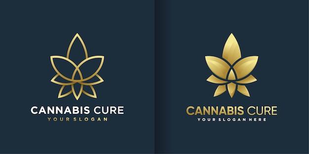 クールなグラデーションのゴールデンラインアートスタイルと名刺デザインの大麻ロゴ Premiumベクター