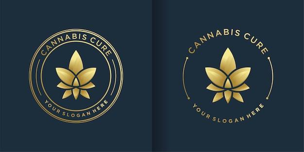 金色のエンブレムラインアートスタイルと名刺デザインの大麻ロゴ Premiumベクター