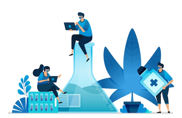 Cannabis and marijuana research for health. ganja plant for industry. Premium Vector