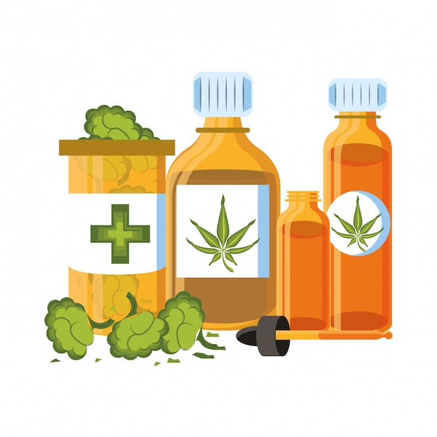 Cannabis martihuana sativa hemp cartoon Premium Vector