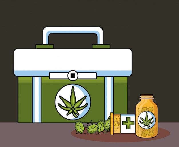 Cannabis medical cartoons Premium Vector